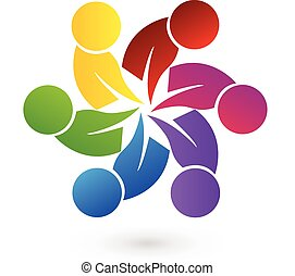 Logo concept of community unity, goals, solidarity , friendship - vector graphic. This logo template also represents colorful kids playing together holding hands in circles, union of workers, employees meeting
