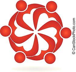 Logo teamwork people love heart