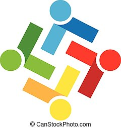 Logo teamwork people - Vector teamwork people icon logo ...