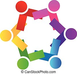 Logo teamwork people vector