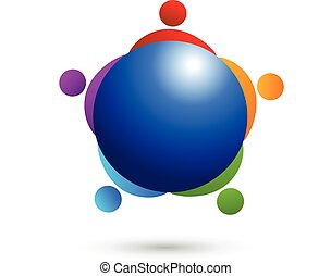 Logo teamwork people world trade