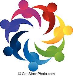logo, teamwork, pojęcie, handlowy