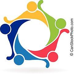 logo, teamwork, przyjaźń