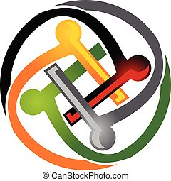 logo, teamwork, skabelon
