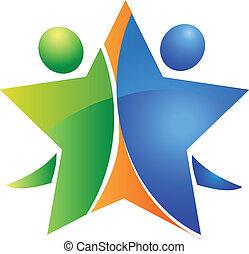 logo, teamwork, szczęśliwy