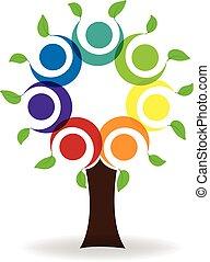 logo, teamwork, træ, folk