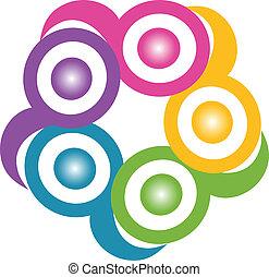 logo, teamwork, uścisk, symboliczny
