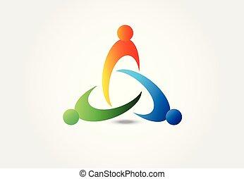Logo teamwork unity people vector