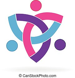 Logo teamwork unity symbol people