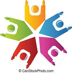 logo, teamwork, uppe, räcker