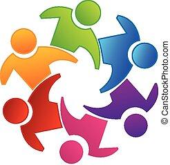 logo, teamwork, vector, eenheid