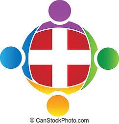 logo, teamwork, vektor, medicinsk