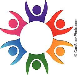 logo, teamwork, vrolijke , concept
