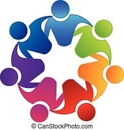 logo, teamwork, wektor, jedność