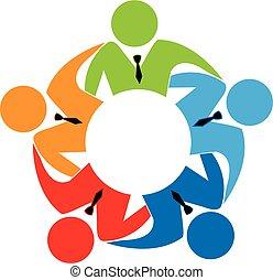 logo, teamwork, zakelijk
