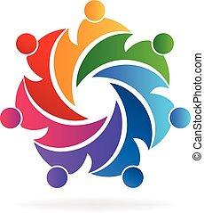 logo, teamwork, zjednoczenie, ludzie