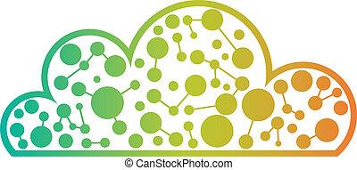 logo, techno, nuage