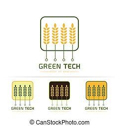 logo, technologia, zielony