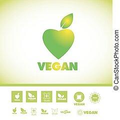 logo, tekst, set, vegan, pictogram