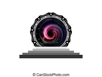 logo, teleportation, étranger, isoler, stargate, concept, construction, icône, spatial, transparent, portail, entrée, portail, extraterrestre, machine temps, arrière-plan.