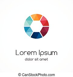 Logo template. Abstract circle creative sign, symbol with 6 ...