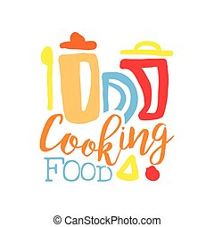 Logo template for cooking food club with kitchen jars