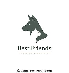 Logo template for veterinary clinic with cat and dog. Vector...