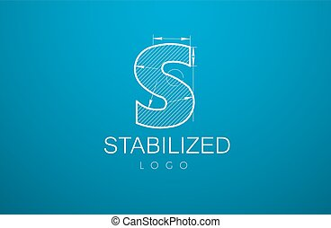 logo template letter S in the style of a technical drawing....
