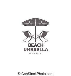 Logo template with beach umbrella and sun bathing lounge...