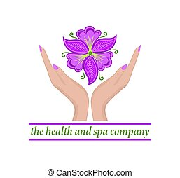 Logo template with female hands holding beautiful abstract ...