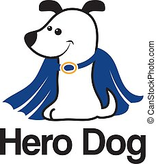 Logo template with hero dog. Vector illustration