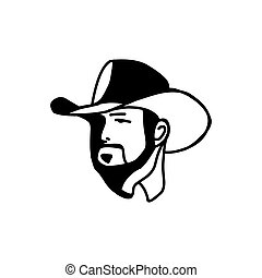Logo template with the image of the man in hat. Cowboy