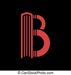 Logo templates of letter B. Book shape