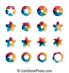 Logo templates set. Abstract circle creative signs and...