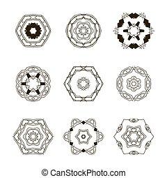 Logo templates set. Abstract circle creative signs and symbols.