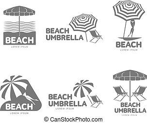 Logo templates with beach umbrella and sun bathing lounge...