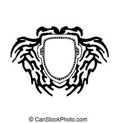 logo, text., schild, achtergrond
