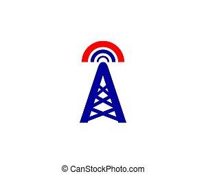 logo, toren, vector, signaal