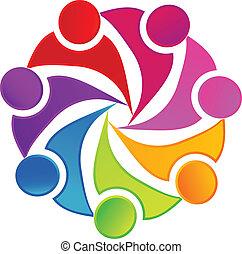 logo, towarzyski, teamwork, tworzenie sieci