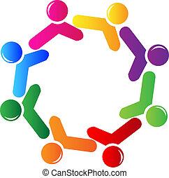 logo, towarzyski, tworzenie sieci, teamwork