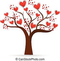 logo, träd, valentinkort, älska hjärtan