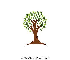 logo, træ, familie