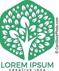 logo, træ, menneske, design.
