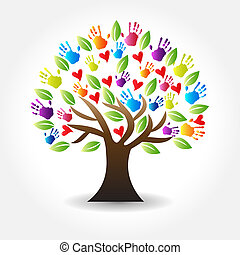 Logo tree hands and hearts icon