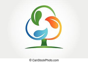 Logo tree recycle leafs symbol icon vector