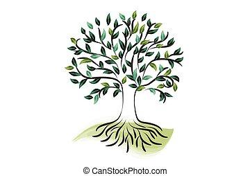 Logo tree roots ecology icon