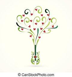 Logo tree swirly love hearts guitar shape