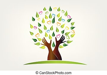 Logo tree with protective hands symbol icon