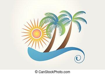 logo, tropikalny, spędza urlop