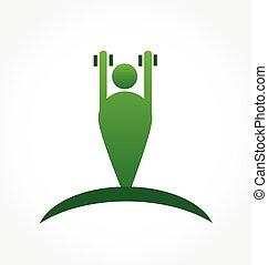 logo, turnhalle, symbol, mann